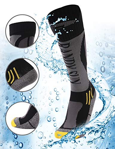100% Waterproof Hiking Socks, Rain Socks, [SGS Certified]RANDY SUN Men's Cold-weather Comfort Socks Grey&Black Medium