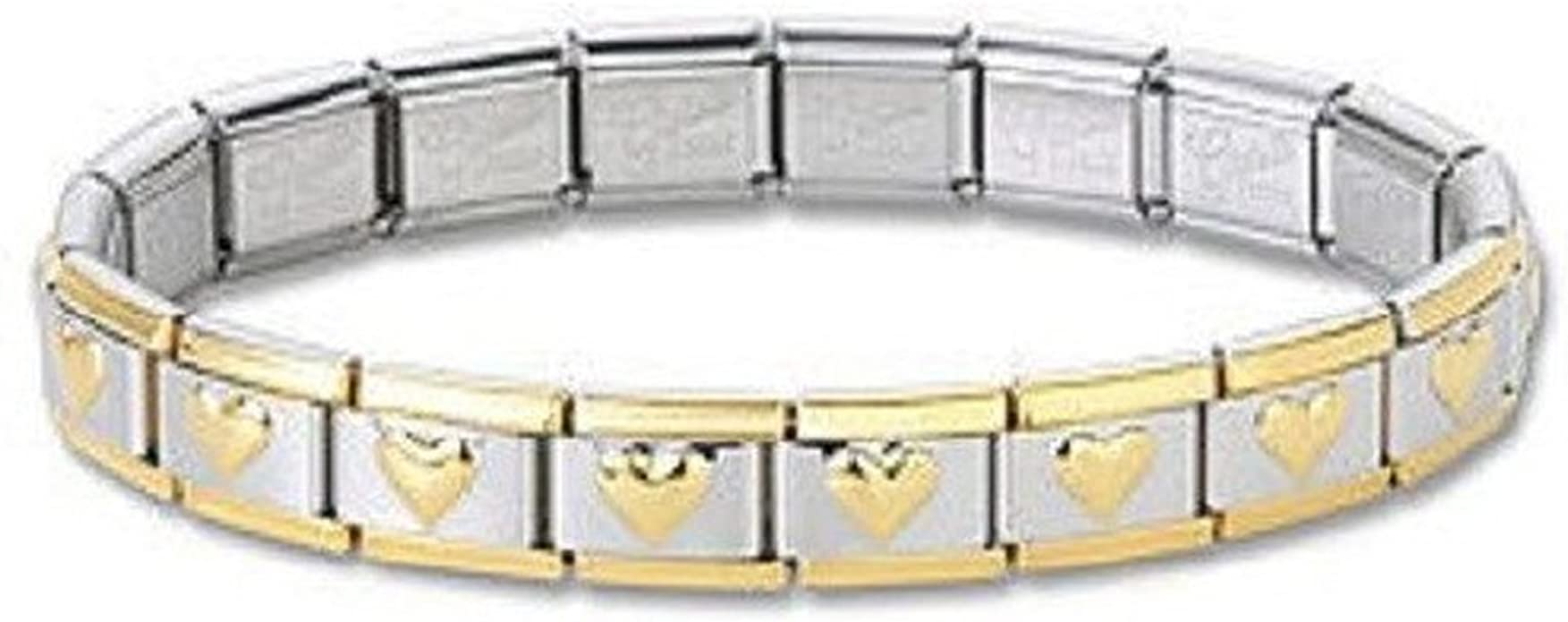 Italian Charm Bracelets Stainless Steel Gold Heart 9 mm Link Free Shipping New