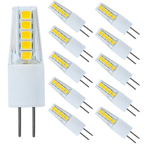 Equivalent 20W-25W T3 Halogen Bulbs Non-dimmable 5-Pack GY6.35 G6.35 3W Bi-pin Base LED Light Bulb AC DC 12V Silica Gel Crystal Daylight White 6000K-6500K Landscape Lighting
