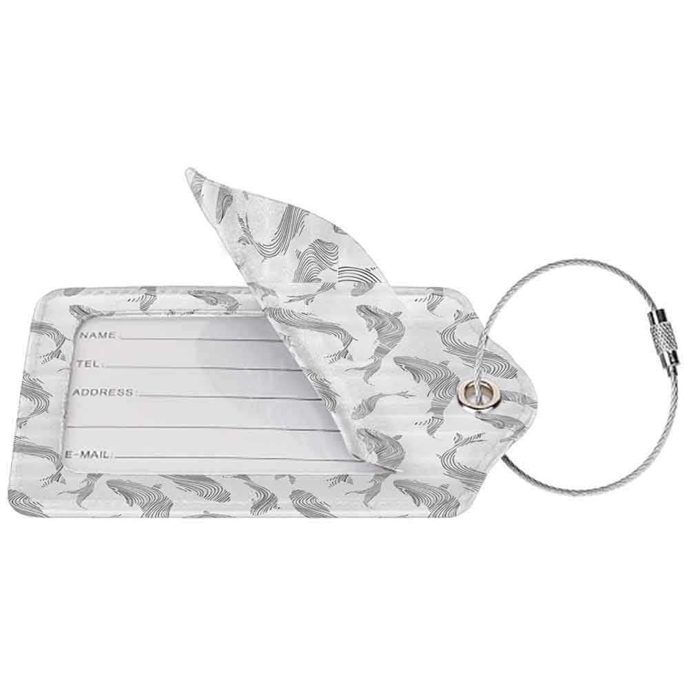 Multicolor luggage tag Ocean Animal Decor Minimalist Fish Pattern with Stripes Fauna Tail Handdrawn Nautical Theme Hanging on the suitcase Grey White W2.7 x L4.6