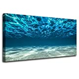 Canvas Wall Art Blue Ocean Sea Wall Art Decor Seaview Bottom View Beneath Surface Pictures Prints Paintings on Canvas Modern Canvas Art for Home Room Office Wall Decorations
