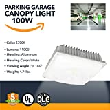 100W LED Canopy Light - Outdoor Gas Station LED Powered Canopy Light, 11000 Lumens - Commercial Or Industrial Parking Garage Outdoor Lighting - 5700K