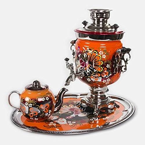 Electric Samovar Set 'Capercaillies' with Tray & Teapot. Tea Maker. Electric Kettle