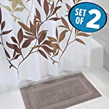 mDesign Bathroom Accessory Set, Leafy Shower Curtain, Spa Bath Mat/Rug - Set of 2, Brown/Taupe