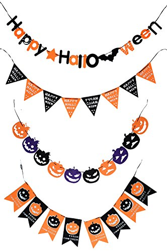 CHICHIC Halloween Banner Bunting, Party Favors Decorations, Halloween Props, Best Halloween Decoration, Set of 4 -