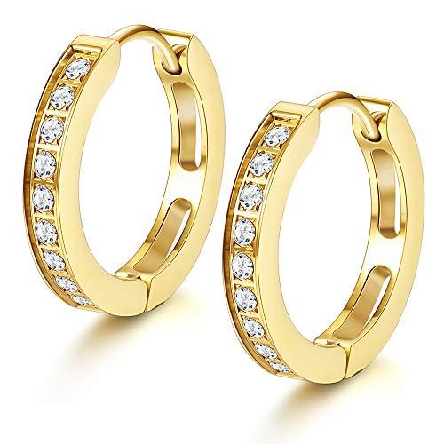 (FIBO STEEL 13MM Stainless Steel Small Hoop Earrings for Men Women Huggie Earrings CZ Inlaid)