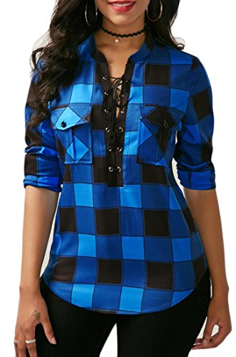 ONTBYB Women's Sexy Long Sleeves Fitted Plaid Shirt Deep V Neck Tie Front Polyester Tops Blouses With Pockets 1 XL (Lace Up Front Shirt)