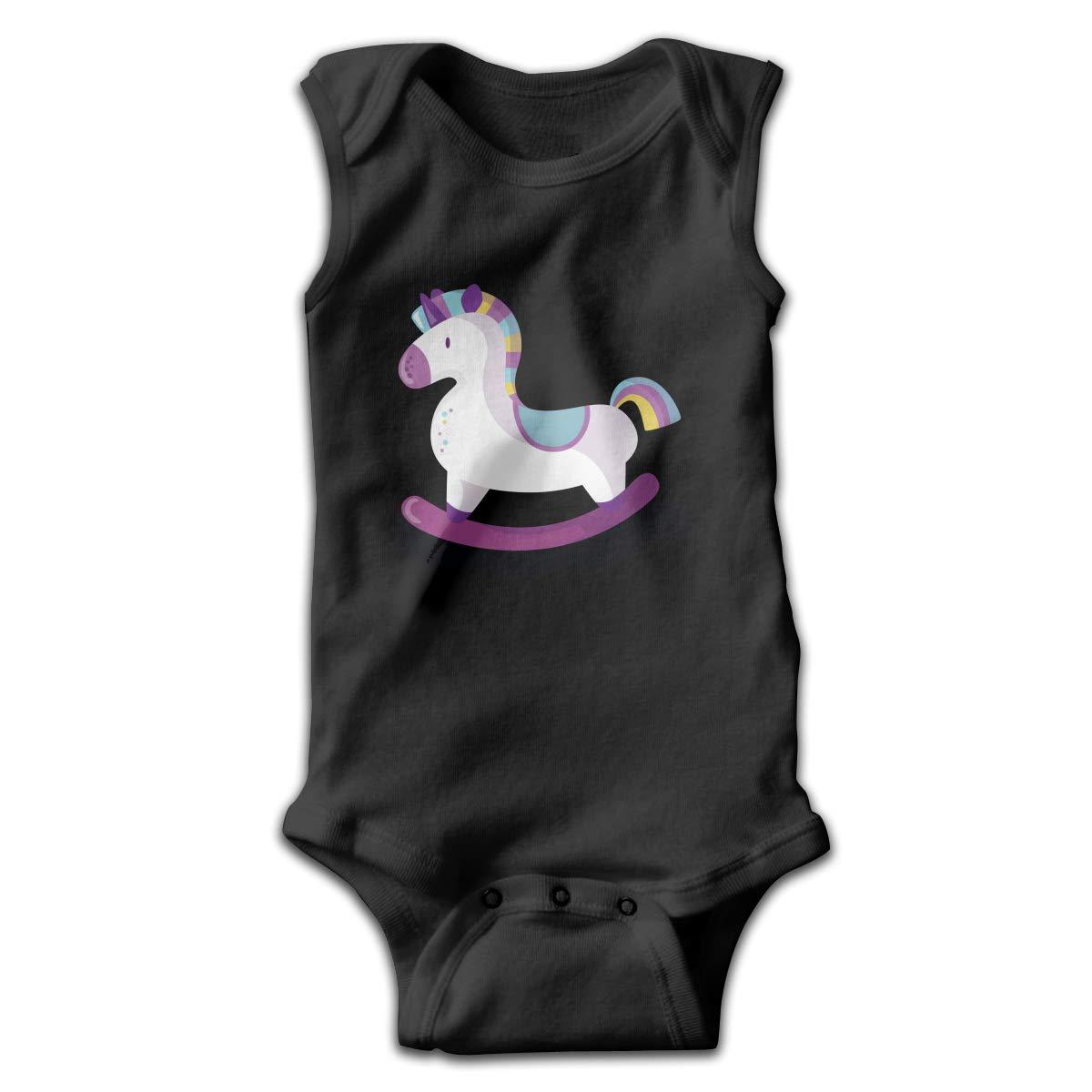 Newborn Baby Boys Rompers Sleeveless Cotton Jumpsuit,Wooden Horse Toys Bodysuit Summer Pajamas