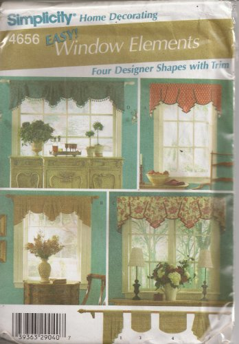 Simplicity 4656 Window Treatment Swag Valance Home Decorating Four Desinger Shapes with Trim