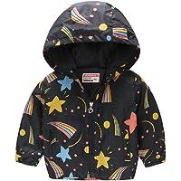 Toddler Boys Girls Cartoon Print Hooded Kids Lightweight Jacket Zipper Trench Coats Fall Windproof Outerwear