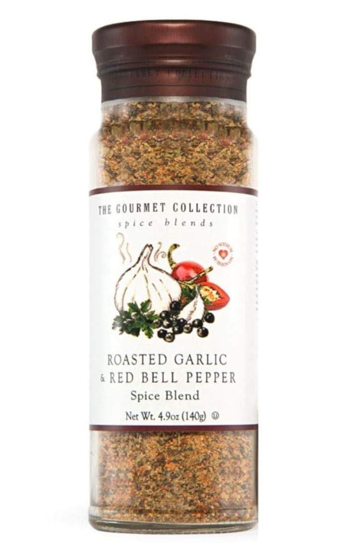 The Gourmet Collection Spice Blends Roasted Garlic and Red Bell Pepper Blend - Garlic Powder Seasoning for Cooking - Salt Free - Seafood, Meat, Eggs.