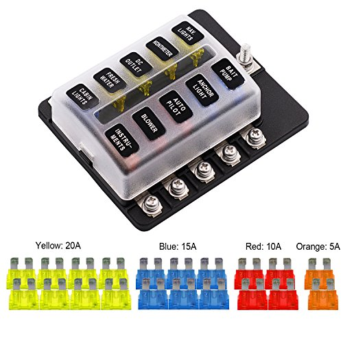 VETOMILE 10-way Fuse Box Blade Fuse Block Holder Screw Nut Terminal 5A 10A 15A 20A Free Fuses LED Indicator Waterpoof Cover for Automotive Car Marine Boat
