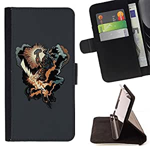 DEVIL CASE - FOR Sony Xperia m55w Z3 Compact Mini - cool thunder lightning hammer warrior cloud hero - Style PU Leather Case Wallet Flip Stand Flap Closure Cover