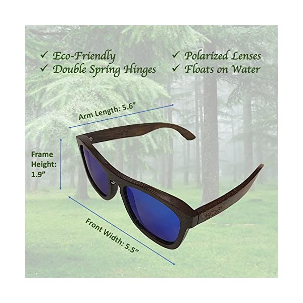 Unisex 100% Bamboo Wood POLARIZED Sunglasses | Eco-Friendly & Sturdy Wayfarer