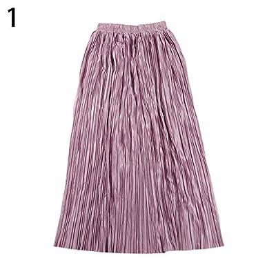 Gloa Women's Stylish Solid Color Metallic Pleated Elastic Waist Long Maxi Skirt - Pink-Purple