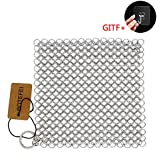"Cast Iron Cleaner 6"" x 6.3"" Premium 316L Stainless Steel Chainmail Scrubber for Skillet, Wok, Pot, Pan; Pre-Seasoned Pan Dutch Ovens Waffle Iron Pans Scraper Cast"
