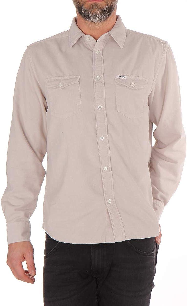 Wrangler Camisa para hombre L/S 2 Pkt Flap Shirt gris/azul ...