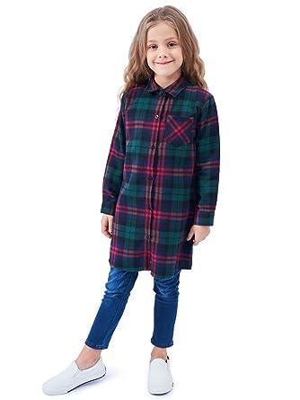 b7f08fea5a46 OCHENTA Girls' Long Sleeve Button Down Plaid Flannel Shirt Dress NC024 Teal  Red Tag 100CM