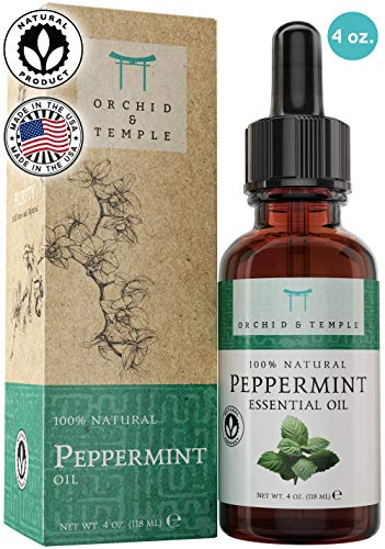 100% Pure Therapeutic Grade Peppermint Essential Oil Premium 4oz. Orchid and Temple is Made in The USA. Undiluted Mentha Piperita - Energy Boost, Headache Relief, Mental Focus.