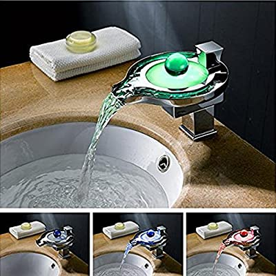 Rumfo Water Power Waterfall LED Bathroom Sink Faucet with 3 Colors Changing Taps Temperature Control Light Mixer Faucet Brass Vessel Sink Mixer Tap Chrome Finish