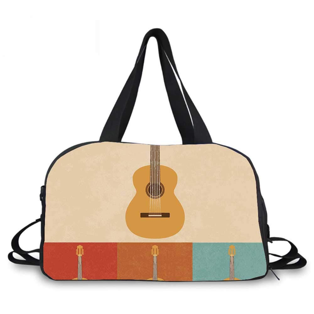 Guitar Personality Travel Bag,Retro Icons Acoustic Guitars in Colorful Frames Nostalgic Music Stringed Instrument Decorative for Travel Airport,One_Size by YOLIYANA