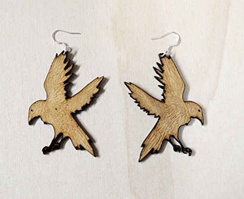 Spooky Raven Earrings laser etched and cut from birch Sterling Silver hooks ()