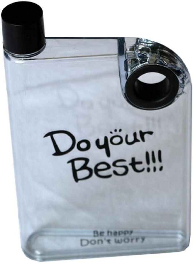 Ducomi - Cantimplora portátil de PVC alimentario transparente - 380 ml - Petaca transparente diseño innovador ultraplano de contenido visible con ojal para colgarla en bolso o mochila