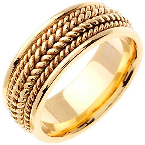 14K Yellow Gold Braided Rope Edge Men's Comfort Fit Wedding Band (8mm) (Rope Comfort Fit Wedding Band)