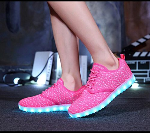 HUAN 37 Shoes Flashing Color Shoes Size Dance USB Child Shoes Parent Ghost Breathable Couples LED Comfort Shoes Step Charging Pink LED Sneakers rt4q1r