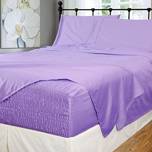 Bed Tite Stretch Fit 500-Thread Count Cotton Rich Super Silky Deep Pocket Sheet Set (King, Lilac) (Super Top Mattress Euro)