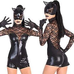 PHUJK - Lencería de niña de Gato enmascarada, Cosplay Sexy Traje de Charol Mono de Halloween Night Club Wear,Black