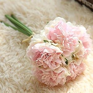 Big-Deal_5 Heads/Bunch New.Silk/Simulation/Artificial Flower Peony Flower Bouquet for Wedding Home Decoration Wedding Garden Decor - (Color:6) 20