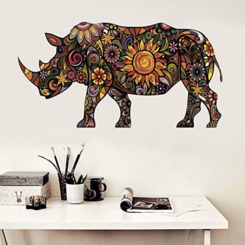 35 x 24 Inch Large Cartoon Rhino Pattern Personalized Wall Sticker Living Room Dining Room Bedroom Decorative Wall Decor Art Transparent Vinyl Stickers Poster Home - Decals Transparent