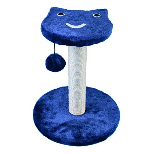 on sale Dimaka Cat Tree Scratching Post, Two Level, Cat Face, Multi Color