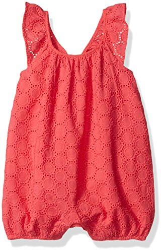(Robeez baby-girls Woven Romper, Coral, 3)