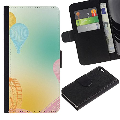 iKiki Tech / Etui Coque Housse de Protection en Cuir - Ferris Wheel Fair American Mountains Pastel - Apple iPhone 5 / 5S