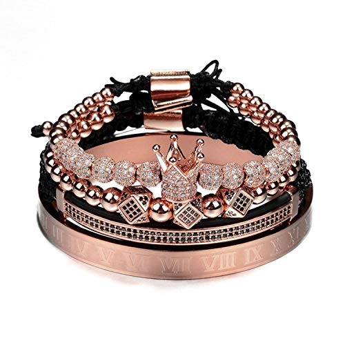 4Pcs/Set Gold Hip Hop Braided Braiding Bracelet Men Pave Cz Zircon Crown Roman Numeral Bracelet Luxury Jewelry,Rose Gold Set-6R ()