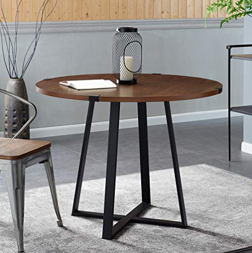 Walker Edison 4 Person Round Industrial Modern Wood Small Dining TableDining Room Kitchen Table Set Dining Chairs Set Walnut Brown/Black40 Inch - Featuring a wood veneer finish on the table top With metal wrap accents and metal legs Can fit up to four people comfortably - kitchen-dining-room-furniture, kitchen-dining-room, kitchen-dining-room-tables - 5176pf4Ef%2BL -