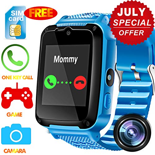 Kids Phone Smart Watch - [Speedtalk SIM Included] Kids Smartwatch for Girls Boys with HD Touch Screen SOS Cell Phone Camera Game Alarm Clock Digital Wrist Watch Outdoor Travel Prime School Gifts