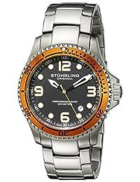 Stuhrling Original Men's 593.332I11 Aquadiver Grand Regatta Swiss Quartz Diver Date Orange Bezel Watch