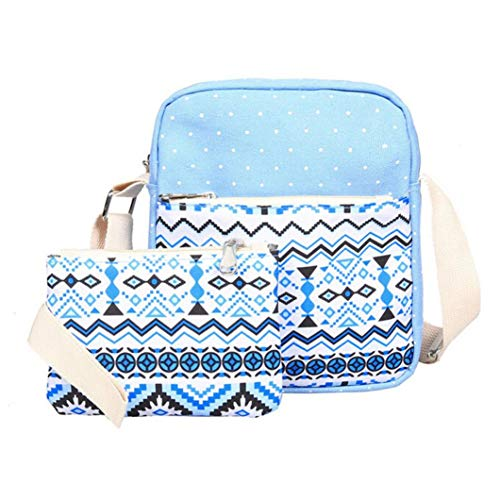Casual Daypack Blue Clutch Blue Canvas Purse Crossbody Women School Tote Bag Shoulder Bag Girl 3 Light Travel Backpack Sets Shoulder Handbag Outsta wBT1an