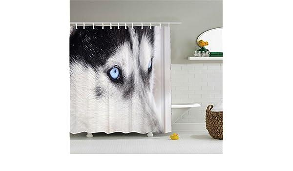 Husky perro lobo ojos azules cortina de ducha impresión Digital ...
