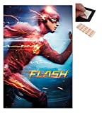 Bundle - 2 Items - The Flash Movie Running Poster - 91.5 x 61cms (36 x 24 Inches) and a Set of 4 Repositionable Adhesive Pads For Easy Wall Fixing