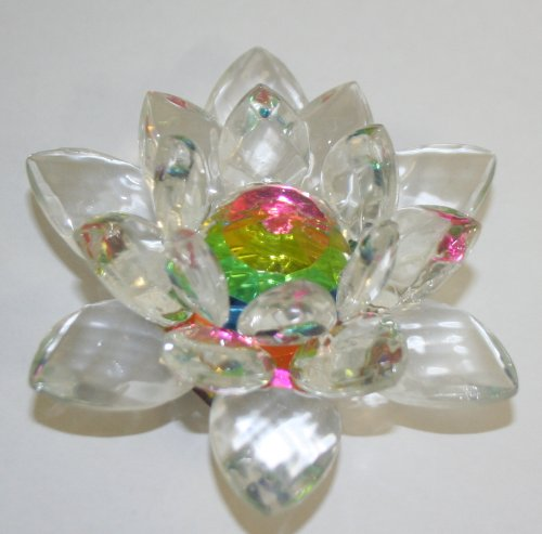 Pink Rainbow Crystal Lotus Flower Feng Shui Home Decor 3