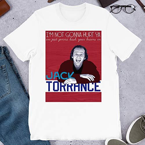Jack Torrance The Shining Horror Thriller Movie Film Jack Nicholson Graphics Gift Men Women Girls Unisex T-Shirt Hoodie (White-2XL)
