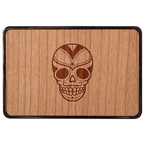 Wood Skull Belt Buckle - Sugar Skull Stainless Steel Belt Buckle With Cherry Wood Veneer- Laser Engraved Wood Belt Buckle - Big Belt Buckle