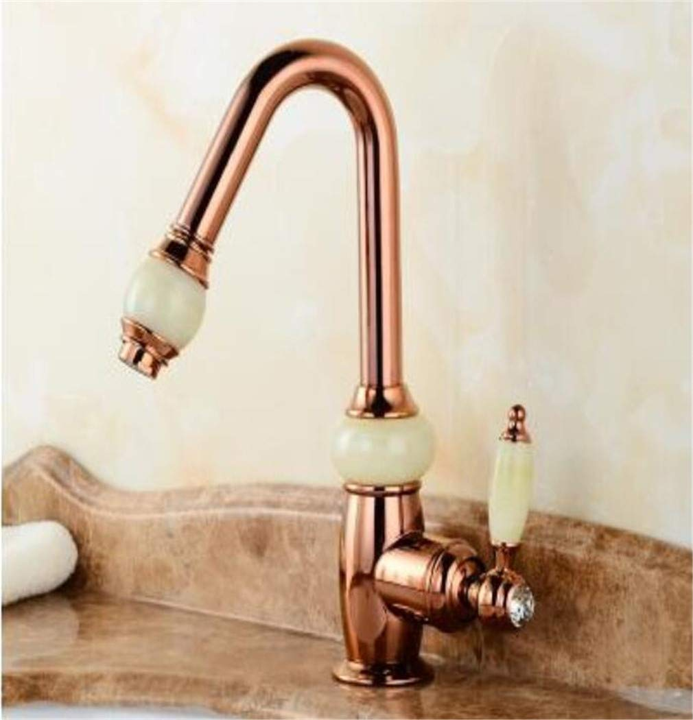 Fashion high Quality Jade Body Single Lever gold Hot and Cold Bathroom Sink Faucet Basin tap with Shower Head