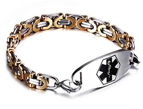 JF.JEWELRY Two-Tone Figaro Stainless Steel Link Medical Alert ID Bracelet for Men and Women,6.9 Inch