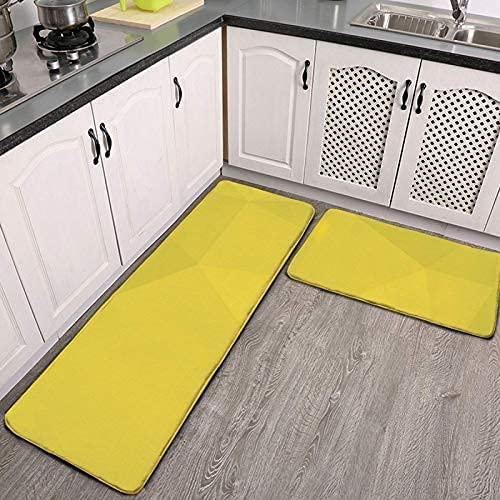 WSXEDC 2 Pieces Kitchen Rugs and Mats Set,Yellow, Simple, Modern, Cool, Geometric Trendy Art Absorbent Non-Slip Soft Doormat Runner Carpet for Kitchen Floor,Entryway,Hallway and Dining Room,Laundry