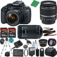 Canon T5 Camera with 18-55mm IS + 55-250mm STM Lens + 2pcs 16GB Memory + Case + Memory Card Reader + Tripod + ZeeTech Starter Set + Wide Angle + Telephoto + Flash + Filter